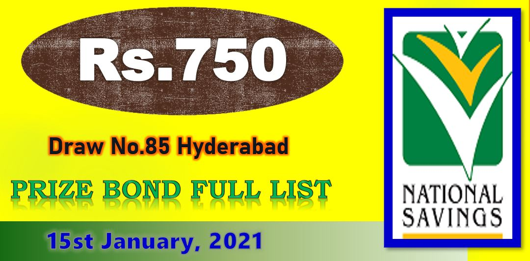 Rs. 750 Prize Bond Draw Result 15 January 2021