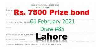 Check Draw 85 Rs. 7500 Prize Bond List Lahore 01 February 2021