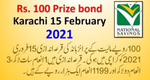 Rs. 100 Prize Bond Draw Result List (15 February 2021, Karachi)