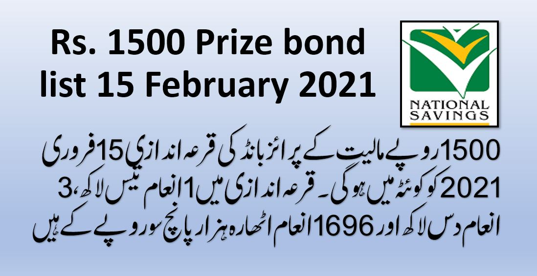 Rs. 1500 Prize Bond Draw Result List (15 February 2021, Quetta)