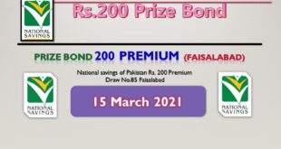 Rs. 200 Prize bond list 15 March 2021 Draw #85