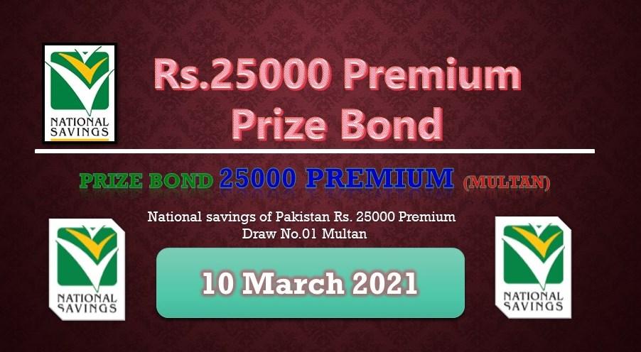 Rs. 25000 Premium Prize bond list 10 March 2021
