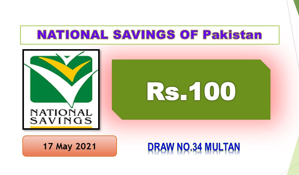 Rs. 100 Prize bond list 17 May 2021 Draw #34 Multan Result Check online