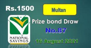 1500 Prize Bond List Multan Draw 87 16 August 2021