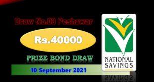 Rs. 40000 Premium Prize bond list Draw #18 10 September 2021