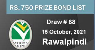 Prize Bond 750 Draw # 88 On 15-10-2021 at Rawalpindi
